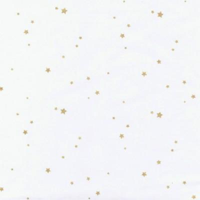 Popeline blanche étoilée or