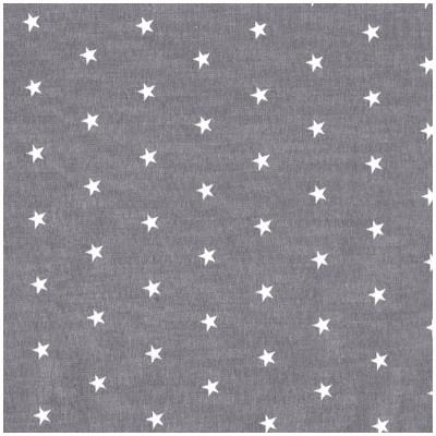 Popeline grise à étoiles blanches