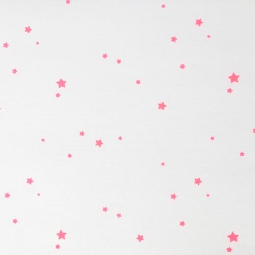 Batiste étoilée corail fluo