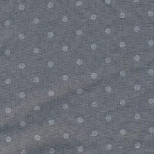 Popeline gris argile à pois gris argenté